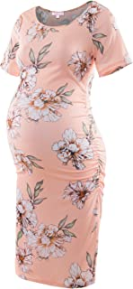 Maternity Bodycon Dress Short Sleeve Ruched Sides Knee...