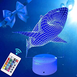 FLYMEI Shark 3D Night Light for Kids, Shark Toys 3D Optical Illusion Desk Lamp for Kids, LED Nightlight for Halloween Decor 16 Colors Changing, USB Powered, Touch&Remote Control, Kid's Room Decor