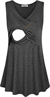 Hellmei Women's Comfy Nursing Tops for Breastfeeding Sleeveless Tank Tops