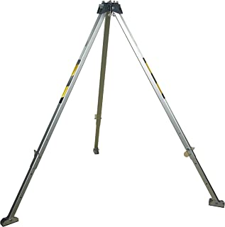 3M Protecta PRO AK105A Confined Space Aluminum Tripod, 8' with Adjustable Legs, Safety Chain, and Skid-Proof Feet, Silver