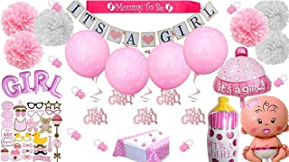 Baby Shower Decorations for Girl Pink It's a Girl Giant Balloons Photo Booth Props Banner Pom Poms Mom Mommy to Be Sash White Gold Pacifiers Garland Tablecloth Ultimate Kit