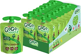 GoGo squeeZ Applesauce, Apple Cinnamon, 3.2 Ounce (18 Pouches), Gluten Free, Vegan Friendly, Unsweetened Ap...