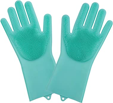 GLUN Dishwashing Gloves with Wash Scrubber + Magic Silicone Gloves + Heat Resistant + Reusable Cleaning Gloves for Kitchen,Ca