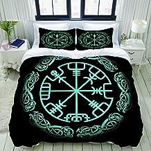 HKIDOYH Duvet Cover Set,Vegvisir, The Magic Navigation Compass of Ancient Icelandic Vikings with Scandinavian Ornament,Pol...