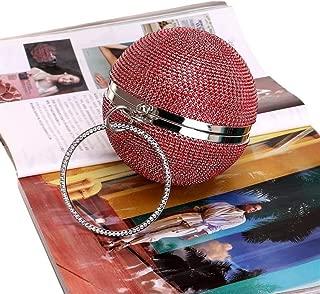 Redland Art Women's Fashion Sparkly Round Mini Clutch Bag Wristlet Evening Handbag Purse Catching Bag for Wedding Party (Color : Red)