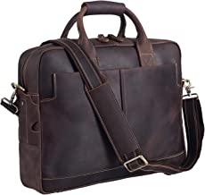 Polare Men's Thick Authentic Genuine Leather 16'' Laptop Case Bag Briefcase with Premium YKK Zippers