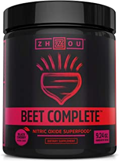 Beet Complete, Nitric Oxide Superfood Powder Preworkout Formulated to Boost Performance & Heart Health - 9.24 Oz Beetroot Powder with Black Cherry Flavor