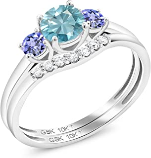 Gem Stone King 1.16 Ct Round Blue Zircon Blue Tanzanite 10K White Gold Lab Grown Diamond 3-Stone Bridal Engagement Wedding Ring Set