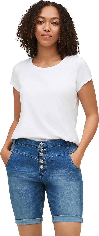 ellos Women's Plus Size Button-Front Denim Shorts
