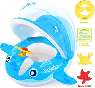 Peradix Baby Pool Float with Canopy Sunshade, Whale Infants Water Toys Inflatab..