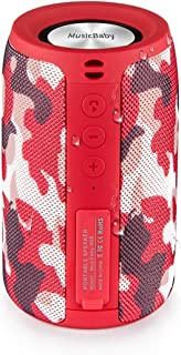 Bluetooth Speakers,MusiBaby Speaker,Outdoor, Portable,Waterproof,Wireless Speakers,Dual Pairing, Bluetooth 5.0,Loud Stereo,Booming Bass,1500 Mins Playtime for Home,Party,Camping(Red)