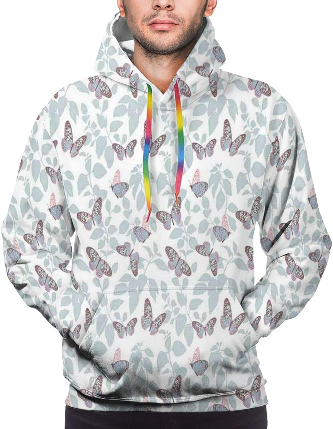 Men's Hoodies Sweatshirts,Beautiful Flying Wild Nature Insects Pattern On Silhouette Leaves Background