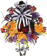 NC Grinalda de caveira de Halloween com pernas de chapéu Grinalda de feliz dia das bruxas para decorações de Halloween Enf...