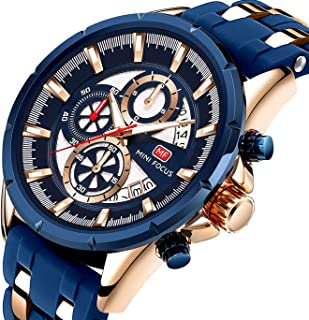 Men Business Watch, MINI FOCUS Chronograph Watch (Black,Blue, Alloy, 30M) Silicon Band Strap Casual Wristwatch for Family Gift