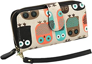 Women Zipper Wallet Owl Wallet Purse Canvas Phone Card Holder with Coin Pocket and Strap