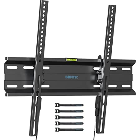 BONTEC Support TV Mural Fixe Inclinable Ultra Mince pour des Téléviseurs Plats & incurvés LCD LED OLED 3D Plasma de 23 à 55 Pouces avec Capacité Max de 45 kg VESA 400x400 mm