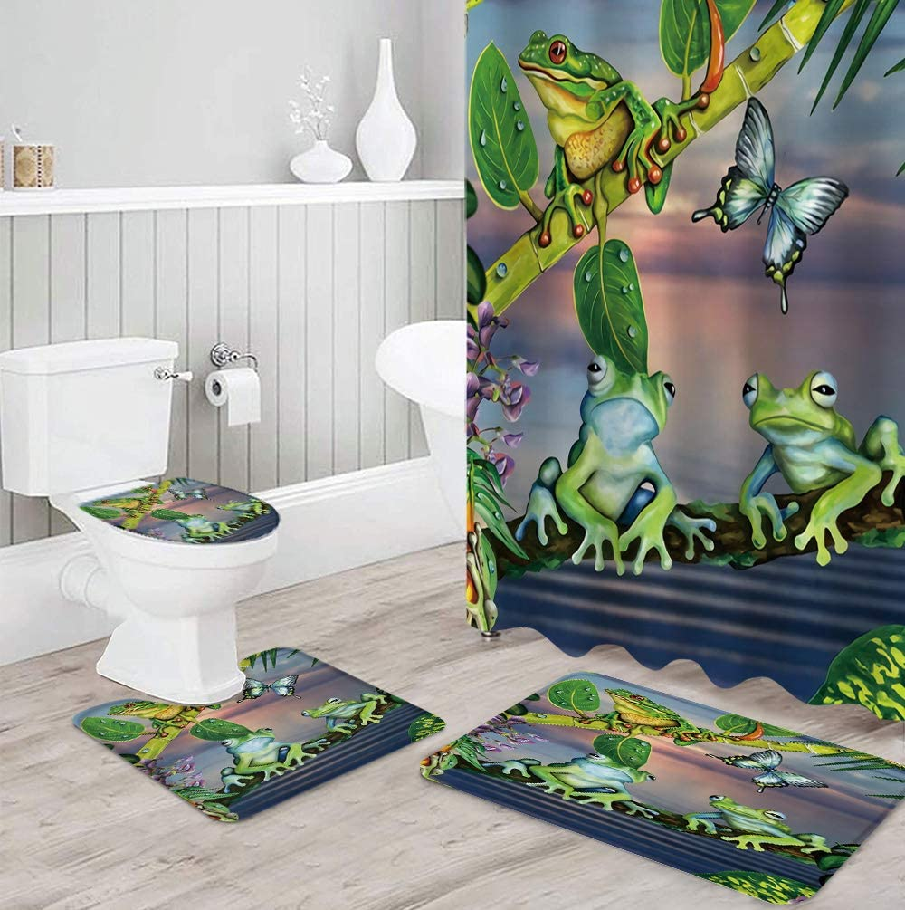 FAMILYDECOR 4 Pcs Surprise price Bathroom Shower with Non-Slip Curtain Sets Rug Ranking TOP4