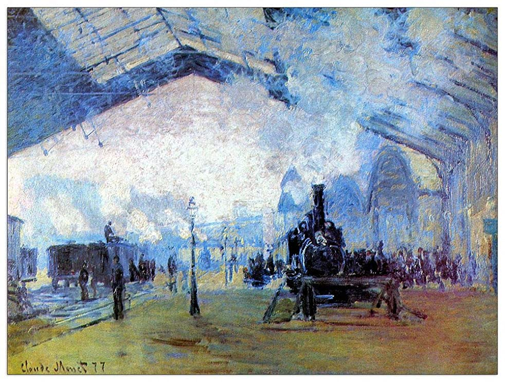ArtPlaza TW91912 Monet Claude-Saint Lazare Station in Paris Decorative Panel, 35.5x27.5 Inch, Multicolored