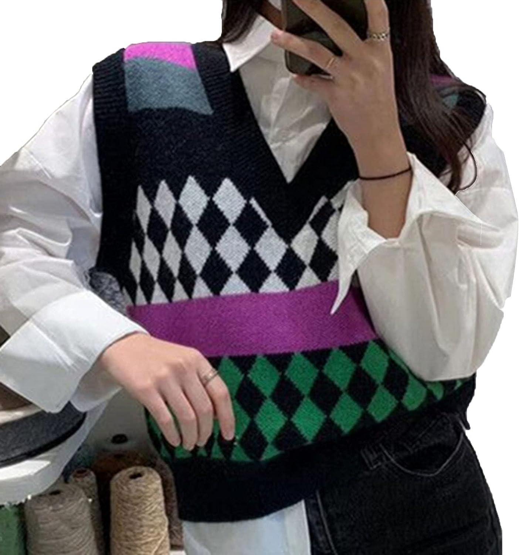 Spring Autumn Women Sweaters V-Neck Pullover Sleeveless Short Vest Waistcoat Wild Lady Tops