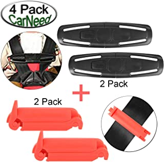 CarNeed 2 Pack Baby Chest Harness Clip, Universal Seat Chest Clip Guard, Black Lock Tite Stroller Chest Clip with 2 Pack R...
