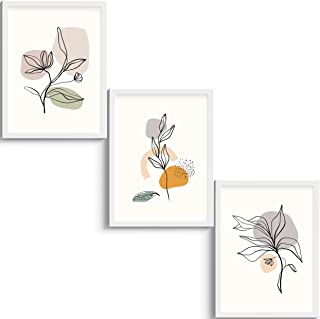 SC CREATIVES Set of 3 Watercolour Flower & Plants Framed Art Prints Painting with Plexi Glass 12 x 9 Inches Wall Art Gift ...