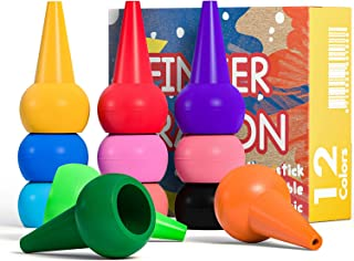 MiMoo Finger Crayons for Toddlers, 12 Colors Finger Paint Palm Grip Crayons for Babies Toddler Crayons Washable Finger Paint Non toxic Crayons, Kids, Children, Boys and Girls