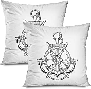 Ahawoso Set of 2 Throw Pillow Covers Square 18x18 Template Nautical Ship Steering Symbol Wheel Anchor Transportation Signs Symbols Silhouette Retro Zippered Pillowcases Home Decor Cushion Cases