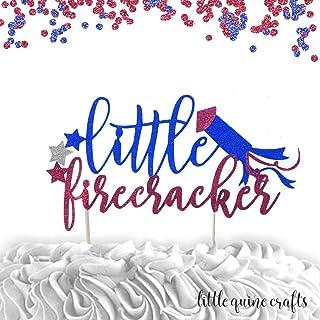 1 pc little firecracker stars patriotic blue red glitter for first birthday boy cake topper cake smash