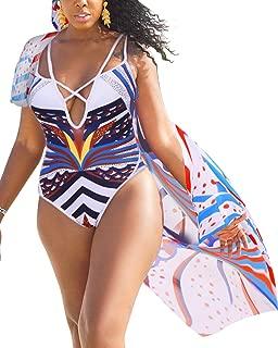 Women Summer Sexy V Neck One Piece Monokini Swimsuit + Chiffon Cover Up Swimwear Set