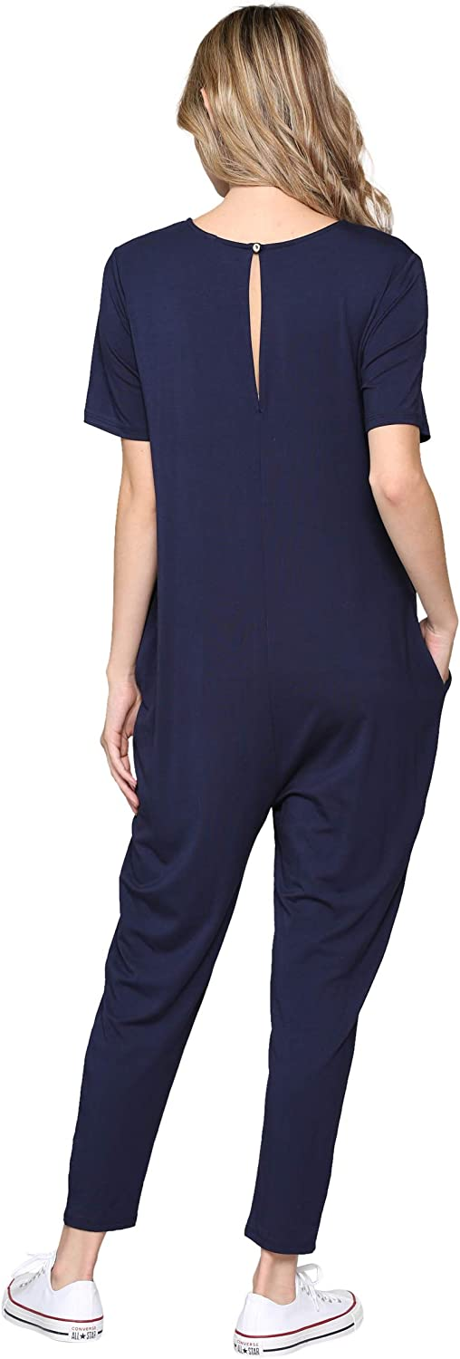 LaClef Womens Maternity Jumpsuit with Pocket