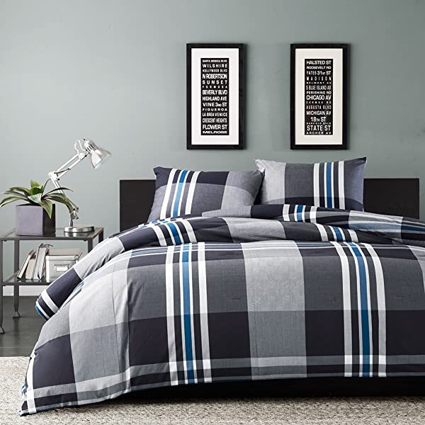 Ink Ivy Nathan Twin Comforter Set Teen Boy Bedding Grey Plaid 2 Piece Bed Sets 100 Cotton Yarn Bed Comforter