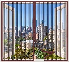Magnetisch vliegscherm voor raam, Bruin_115x170cm, gaasvliegengordijn klamboe voor Windows, Muggennet Insectenbescherming ...
