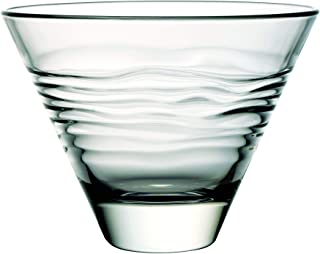 Glass - Martini - Stemless Cocktail Glasses - Set of 6-11 oz. - By Barski - European Quality - Stemless Cocktail - Martinis - with Horizontal Wavy Lines - 11 Ounces - Made in Europe