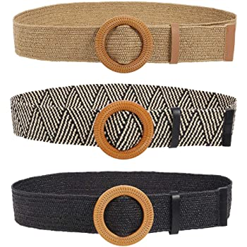2 Pieces Women Straw Woven Elastic Stretch Waist Belt Skinny