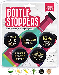 Hawwwy Funny Wine Stoppers, 5 Hilarious Sayings, Wine Gifts, Cute Wine Gadgets Air Tight Reusable Bottle Stopper Unique Th...