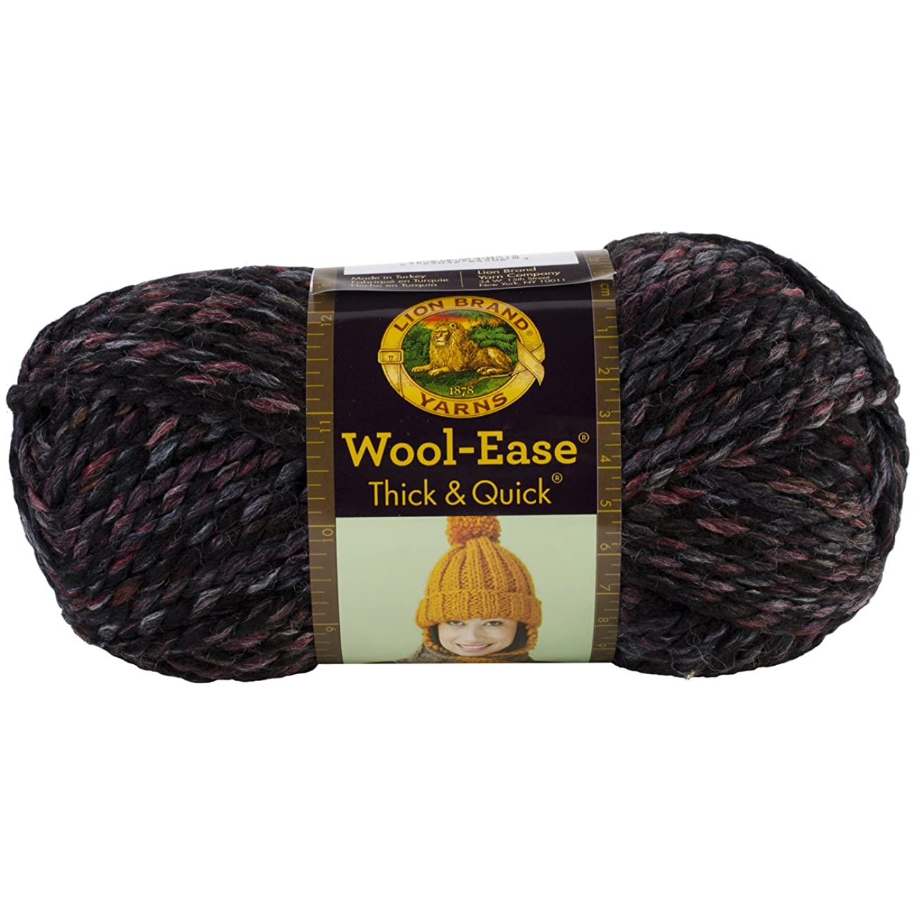 Lion Brand Yarn 640-506 Wool-Ease Thick and Quick Yarn, Blackstone