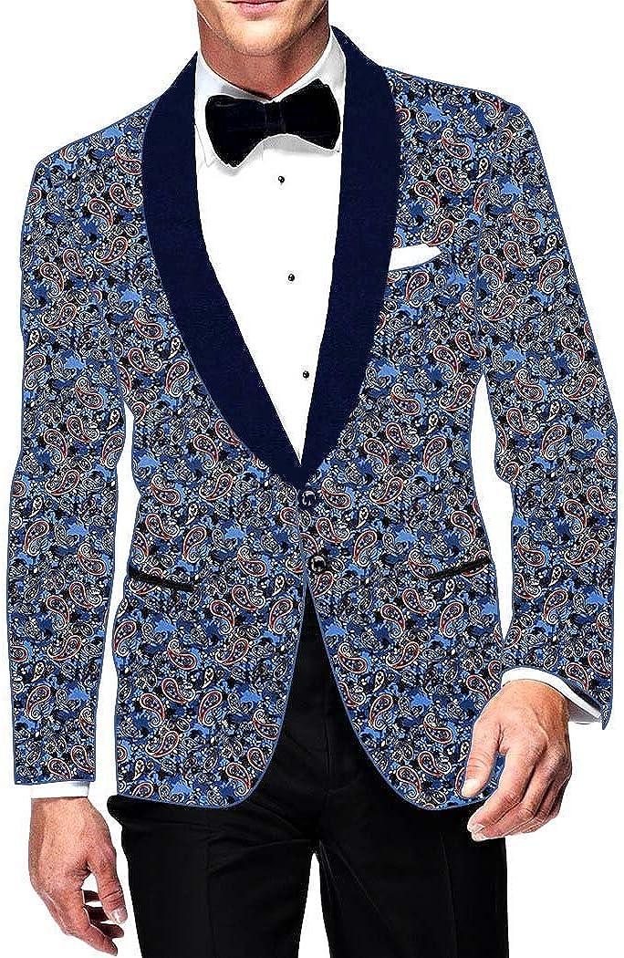 INMONARCH Mens Slim fit Casual Steel Blue Cotton Blazer Sport Jacket Coat Paisley Design SB14450