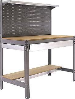 Banco de trabajo BT3 con cajón Simonwork Gris/Madera Simonrack 1445x910x610 mms - Mesa de trabajo - Banco para taller 400 ...