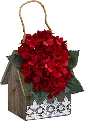 10in. Hydrangea Artificial Arrangement in Hanging Floral Design House Planter