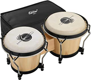 """Eastar EBO-1 Bongo Drums 2 Sets 6"""" and 7"""" Wood Percussion Instrument Bongos for Kids Adults Beginners Natural Skin Heads with Tuning Wrench and Bag"""