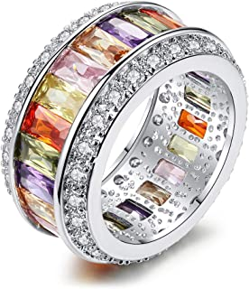 AJZYX Silver Filled Rainbow Square Baguette Zircon Engagement Ring for Women Colorful Cubic Zirconia Eternity Promise Ring Size 6-9