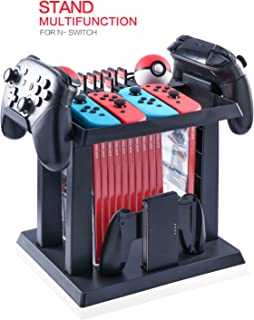 Storage Rack for Nintendo Switch Console Bundle, Storage Station Holder for Nintendo Switch Accessories and 2 Poke Ball Plus Controllers