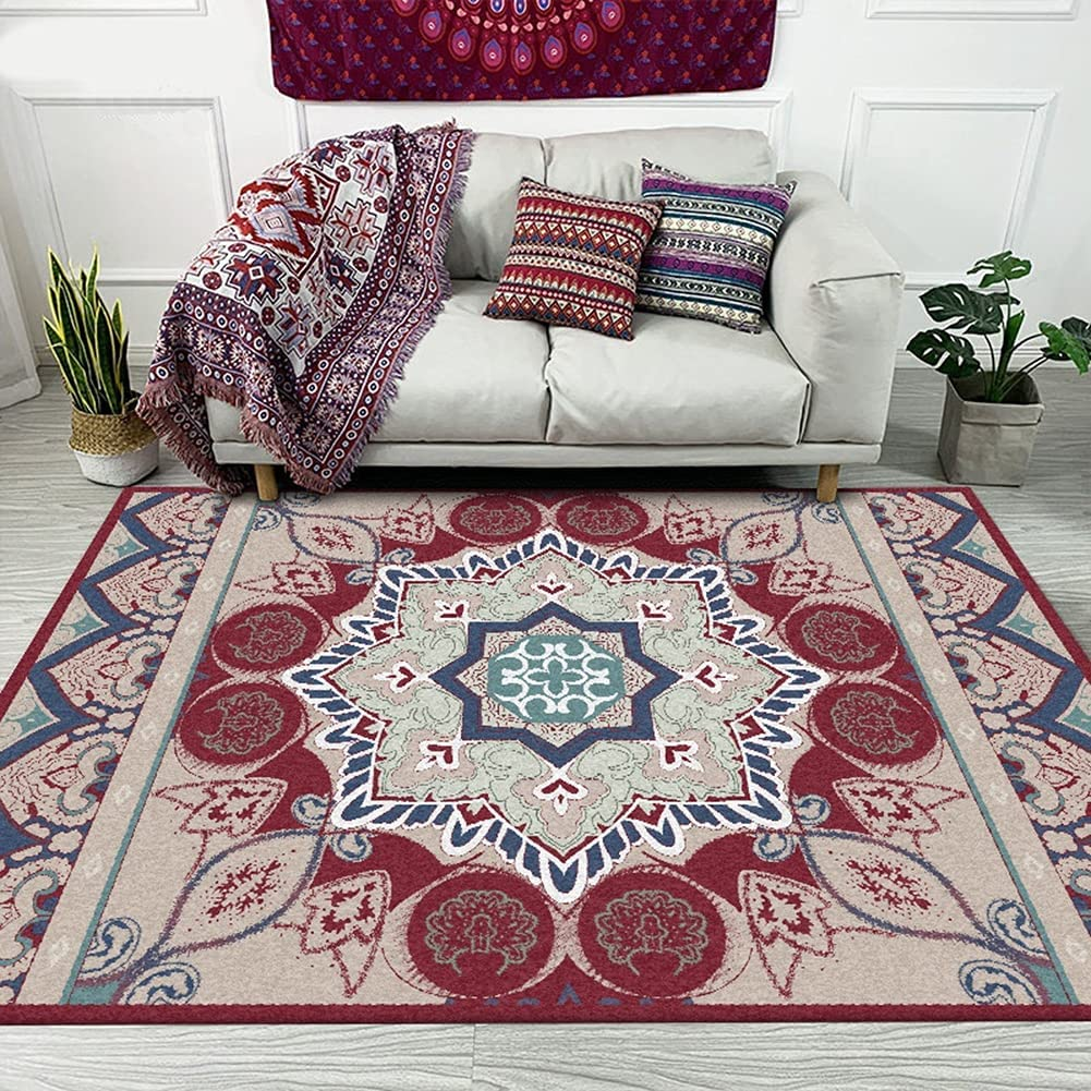 Aabbcdf Carpet Retro Ethnic Style Rug mart High order Pattern Floral Red A Blue