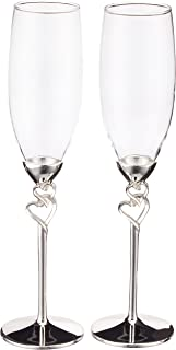 Unik Occasions Double Hearts Toasting Flutes/Champagne Glasses