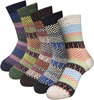 Women's Thick Soft Warm Wool Crew Socks Vintage Winter Casual Ankle Boots Socks for Girl Pack of 5 Size 6-12