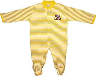 Louisiana State University Tigers Striped Footed Baby Romper