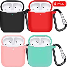 airpods case Cover,4 Pack airpods Silicone case, Compatible with Apple airpods 1 / 2and Wireless Charging airpods (Black/red/Pink/Light Green)
