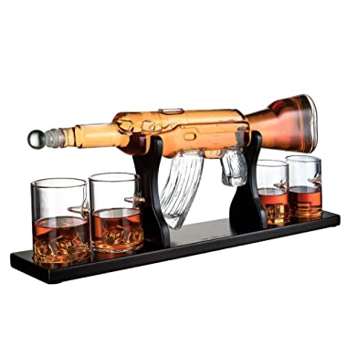 Gun Large Decanter Set Bullet Glasses - Limited Edition Elegant Rifle Gun Whiskey Decanter 22.5  1000ml With 4 Bullet Whiskey Glasses and Mohogany Wooden Base By The Wine Savant