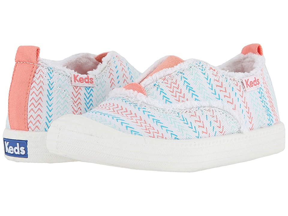 Keds Kids Breaker Slip-On (Toddler/Little Kid) (White Herringbone) Girl