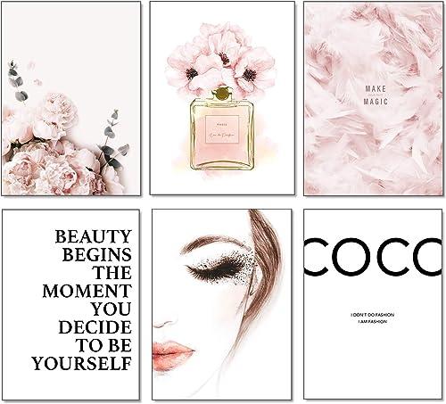 Artpin® Lot de 6 affiches murales élégantes pour salon, SANS CADRE! format A4 pour chambre - motif Coco Rose W2